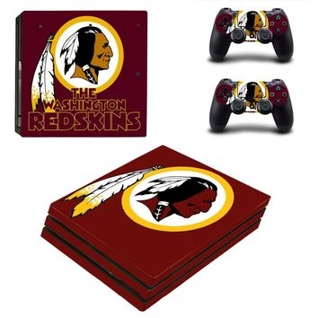 Washington Redskins PS4 Pro Skin Sticker Decal for Sony PlayStation 4 Console and 2 Controller PS4 Pro Skin Sticker Vinyl