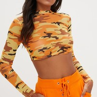 Orange Camo Mesh Longsleeve Crop Top