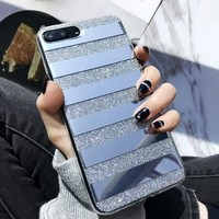 Glitter Powder Phone Case Mirror Reflex Striped Pattern Back Cover for iphone 6 6S 7 7 Plus 8  8 Plus