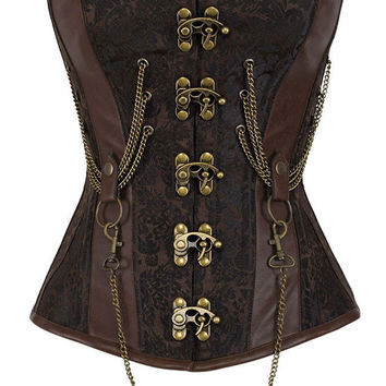 14 Steel Bone Hourglass Steampunk Chained Overbust Corset