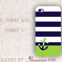 Mint Cute iPhone 4 case Anchor phone case iPhone case 4s - Tiffany blue chevron monogrammed Iphone cover 4 case 5 plastic or silicone
