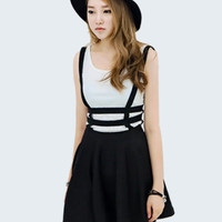 Women Sexy Pleated Suspender Skirt Braces Hollow Out Bandage