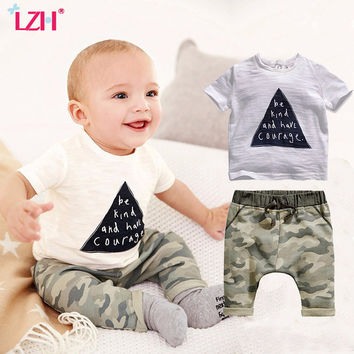 LZH Baby Boys Clothing Sets Newborn Infant Clothes 2017 Summer Short Sleeved Letter Print T-shirt + Camouflage Pants Outfit Suit