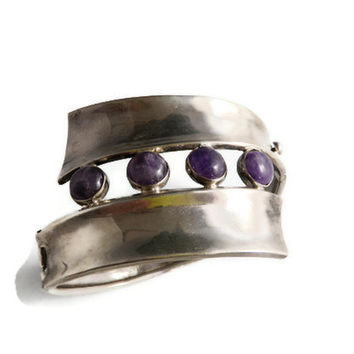1940s Cuff Bracelet Taxco Mexico Sterling Silver and Amethyst Hinged Bangle, Cabochon, Modernist Signed