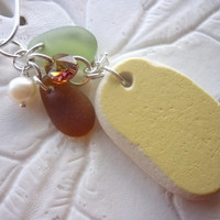 Yellow Sea Glass Necklace Pottery  Beach Glass Jewelry Cluster