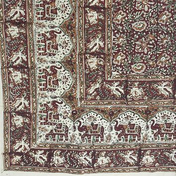 Handmade Cotton Kalamkari Floral Elephant Tapestry Coverlet Queen Earthy Red
