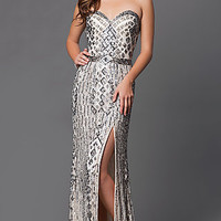 Sequin Long Strapless Prom Dress