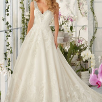Mori Lee 2813 Beaded Tank Lace Ball Gown Wedding Dress