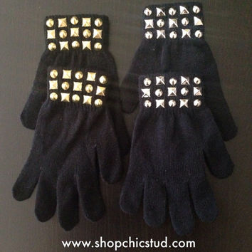 Studded Gloves - Mixed Stud Design -Black Gloves - Silver or Gold Studs