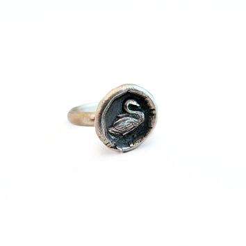 Grace and Beauty - Tiny Swan Wax Seal Ring