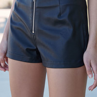 Kendall and Kylie Faux Leather Zip Front Shorts at PacSun.com