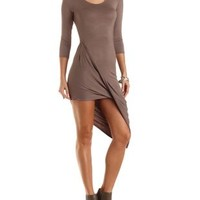 Ruched & Twisted Asymmetrical Dress by Charlotte Russe