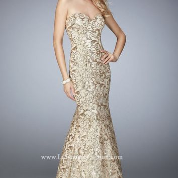Strapless Sequin Mermaid Gown by La Femme