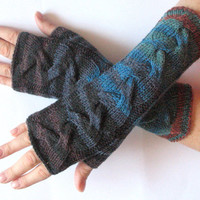 Brown Fingerless Gloves Blue Green Black Long Mittens Arm Warmers Acrylic Wool