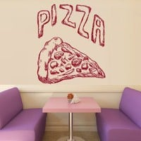 Wall Decal Vinyl Sticker Decals Art Decor Design Pizza interior Pizzeria Resaurant Italy Kitchen Food inscription signboard Fun M1523