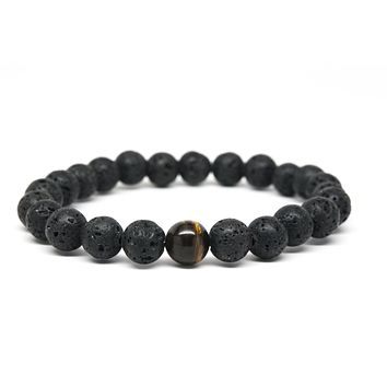 Tigers Eye and Lava Stone Gemstones Beaded Bracelet for Men and Women