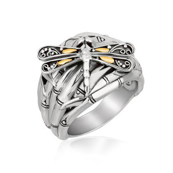 18K Yellow Gold and Sterling Silver Branches and Dragonfly Motif Ring