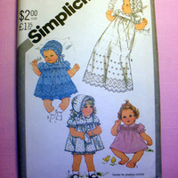 Baby Pullover Dress Panties and Hat Infant Size 6 Months Simplicity 5564 Vintage Sewing Pattern Uncut