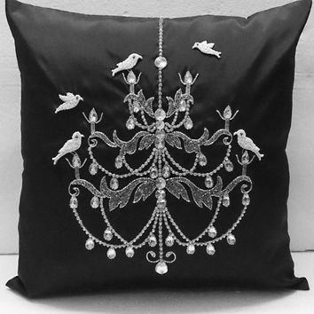 charcoal grey crystal bird chandelier vintage pillow handmade  paris home decor pillow antique decorative pillow gift french decor retro