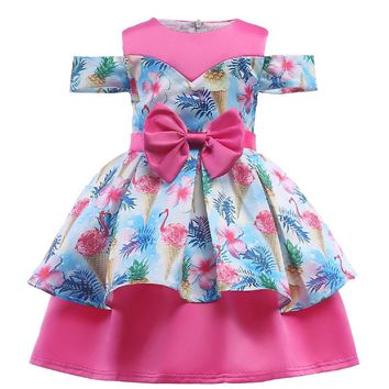 2018 New Flower Girl Dresses Flamingos Floral Unicorn Princess Dress for Wedding Party Birthday Costumes Baby Girl Dress Vestido