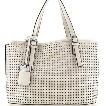 Perforated Square Design Tote Bag