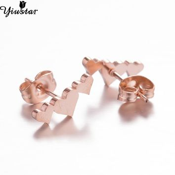 Yiustar Heart Earrings Cute Tiny Latest Hot Selling Stainless Steel Jewelry Heart Stud Earrings for Women Girls Girlfriend Gift
