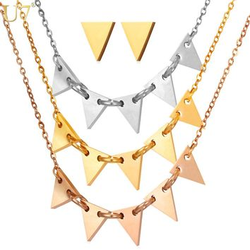 U7 Hot Geometry Jewelry Set Trendy Fashion For Women Tri-Color Triangle Layers Choker Necklace Earrings Set S830