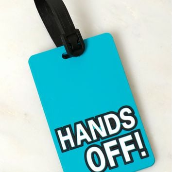 Hands OFF Luggage Tag Blue