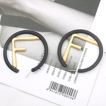 FENDI Stylish Women Personality F Letter Circular Earrings Jewelry Accessories Black