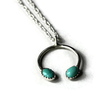 Turquoise necklace - Authentic Turquoise Pendant on a sterling silver chain - Navajo style necklace