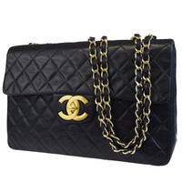 Authentic CHANEL CC XL JUMBO Quilted Chain Shoulder Bag Leather Black 621BC489