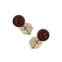 Semi Precious Front And Back Earrings - Red