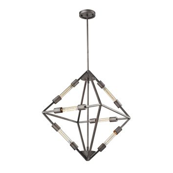 66894/6B Laboratory 6 Light Chandelier In Weathered Zinc - Bulbs Included