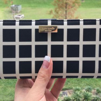 NWT KATE SPADE Shore Street Stacy Wallet Black & White Check Leather Clutch