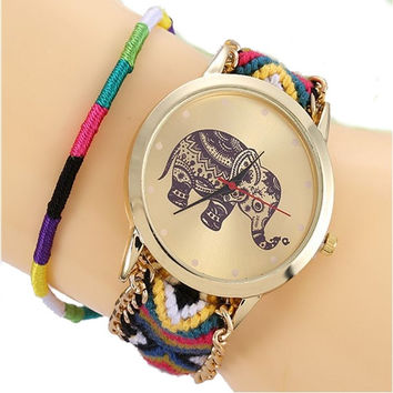 TOP NEW boucle Indian Elephant Lace Watch Women Golden Chain dress woman Ethnic wristwatch Hippie Fabric Fashion Student school