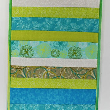 Quilted Table Runner, Striped Table Runner, Spring Table Runner, Blue and Green Table Runner Topper, Tablecloth For Sale