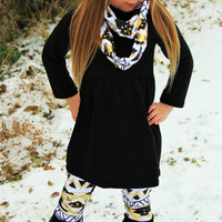 Super Popular-Girls 3 Piece Black & Gold Aztec Tribal Scarf Outfit Leggings For Girls Infants Toddler Kids Clothes Winter Infinity Scarf Set
