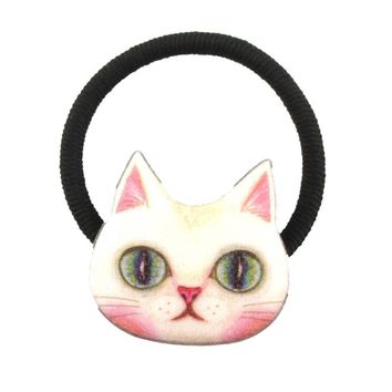 White Kitty Cat Face Shaped Glittery Hair Tie Ponytail Holder