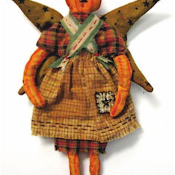 "Primitive Folk Art Pumpkin Head--""PUMPKIN FAIRY"" --Original Homespun, Hand Painted, Design"