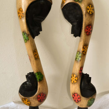 African Art, Mother & Child, Family, Hand carved, Wood, Afrocentric Art, African American Art, Tribal Art
