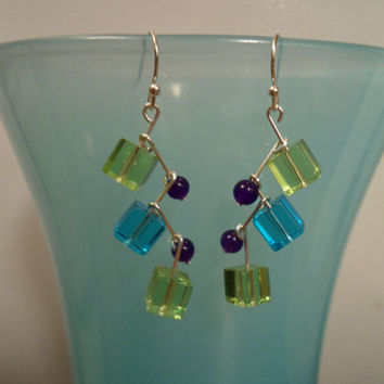 Modern Peacock: Peacock Earrings, Peridot Earrings, Ruby Earrings, Teal Earrings, Purple Earrings, Dangle Earrings, Modern Earrings