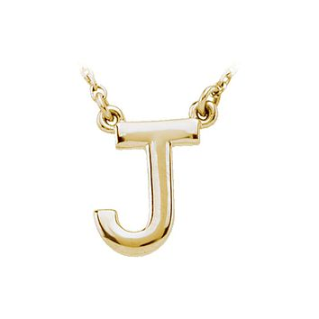 Block initial Necklace in 14k Yellow Gold, Letter J