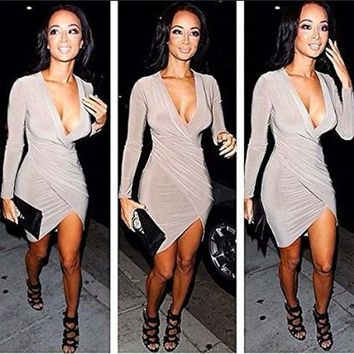 Leshery Hot Womens Sexy Slim Fit Cocktail Bodycon Bandage Dress Long Sleeve Clubwear Evening Dress (L)