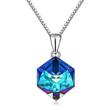Blue Crystals Pendant Necklace, Cat Eye Silver  Changing Ocean
