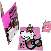 Hello Kitty School or Office Supply Bundle, Sanrio Folder, Clipboard and Mini-Notebook (3 pieces)