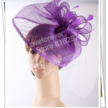 Free shipping 16 colors selected  sinamay hats nice feather  fascinators for wedding hats bridal headwear cocktail hats OF1542