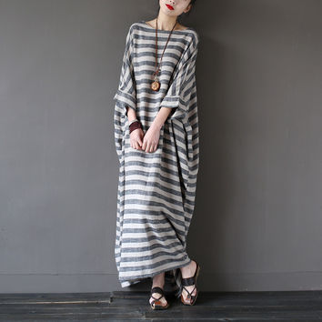 SERENELY 2016 Summer Dresses Vintage Striped Batwing Sleeve Robe Maxi Long Loose Plus Size Women Dress Casual Linen Dress S193