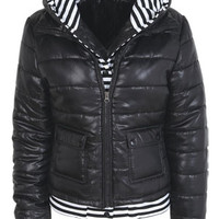 Knit Insert Puffer - Black