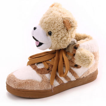 Warm Shoes 2016 Fashion Design Superstar Famous Men Women Casual Shoes Round Lace-up Plush Teddy Bear Panda Comfort Couple Shoes