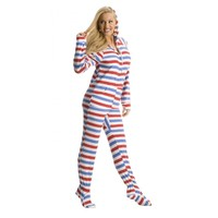 Red, White and Blue Footed Pajamas. Adult Onesuit Pajamas